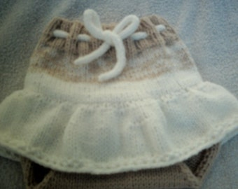 knitted baby skirt diaper cover 6 to 12 months.