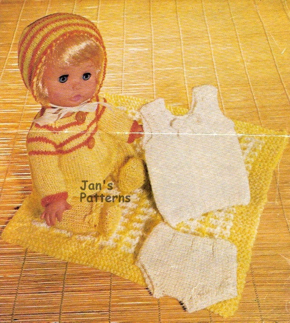 Knitting pattern baby doll full set 150 12 to 14 inch doll.