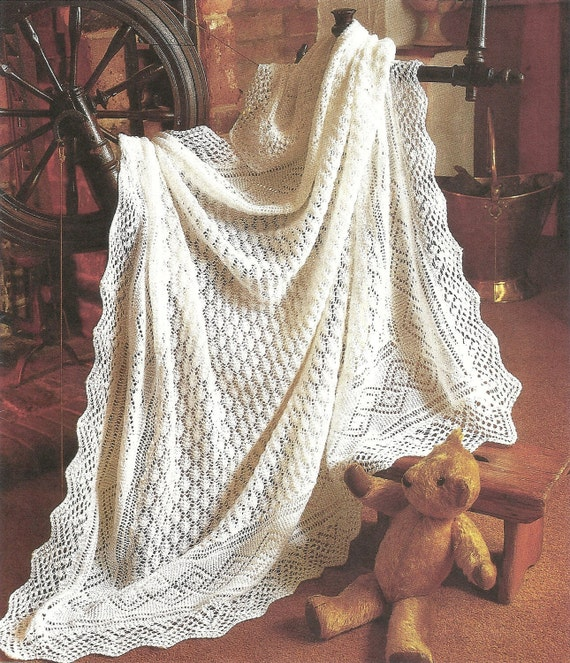 Knitting Pattern For Lacy Baby Shawl : PDF Knitting pattern Peter pan baby lacy shawl.