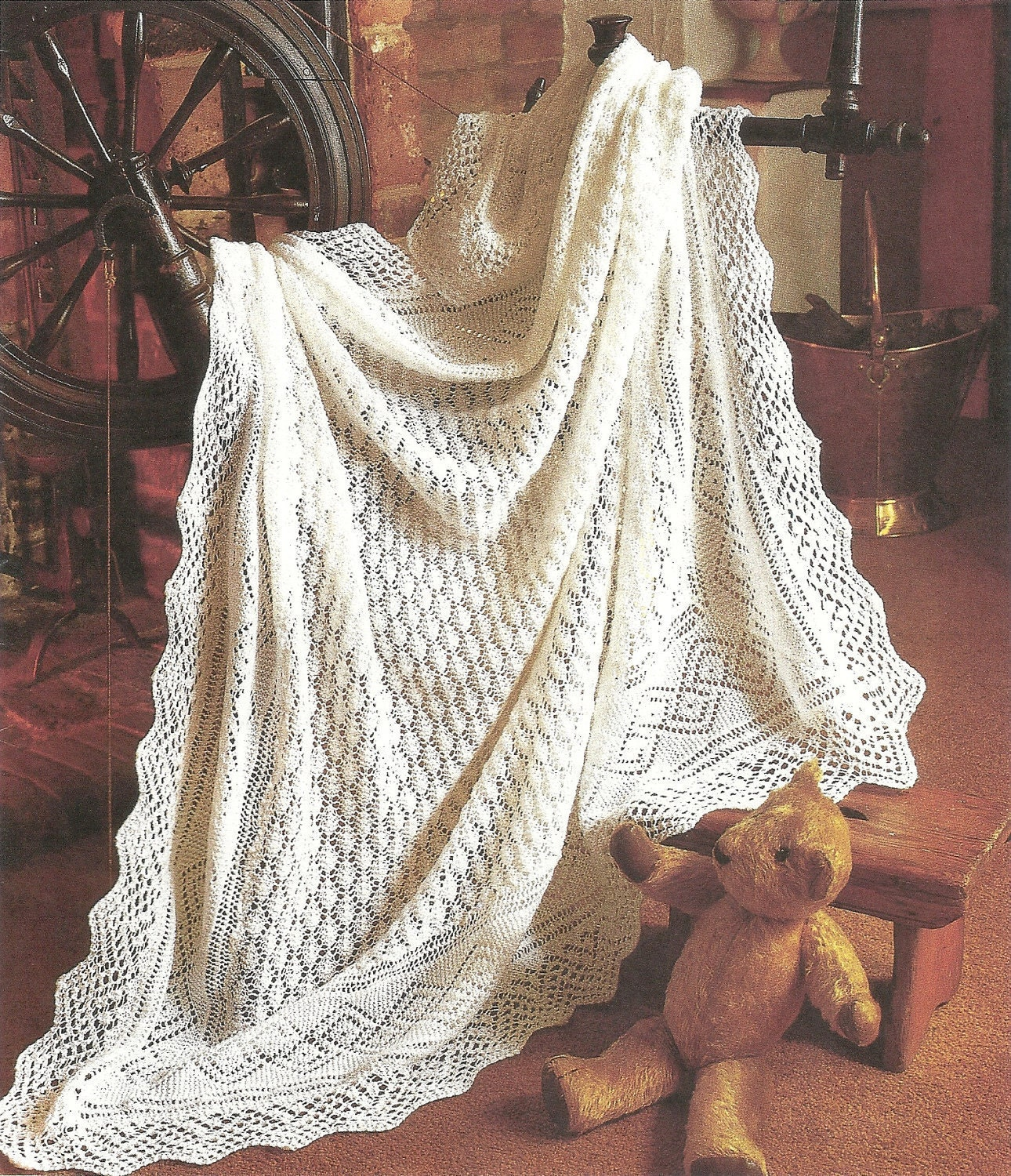 PDF Knitting pattern Peter pan baby lacy shawl.