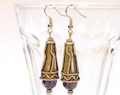 Purple dangle earrings purple earrings faceted beads dangle earrings jewelry silver boho