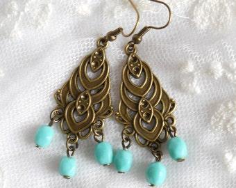 turquoise chandelier earrings turquoise dangle earrings turquoise earrings beaded bronze and turquoise boho brass earrings