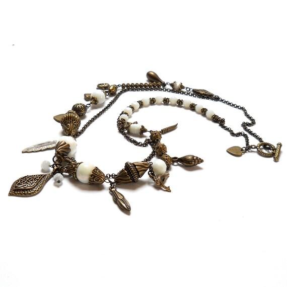 white necklace, long white necklace, long necklace, white beaded necklace, boho
