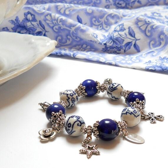 delft blue bracelet delft blue jewelry delft blue style Dutch blue and white charm bracelet