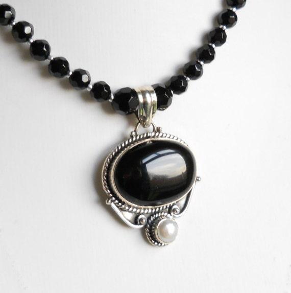 Black necklace, black onyx necklace, sterling silver pendant, onyx pendant, silver pendant, black pendant