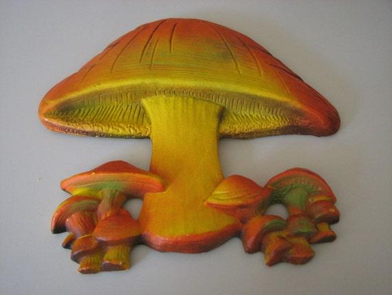 Vintage Kitsch Mushroom Ceramic Wall Hanging