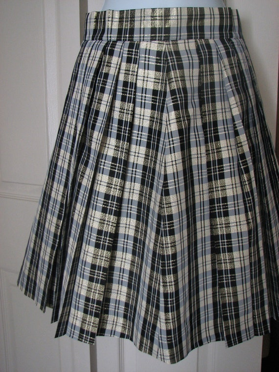 Clearance item.....Vintage Black White and Gold Shimmery Plaid Skirt
