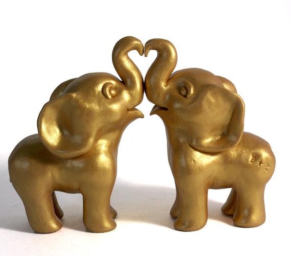 Customized Hand Sculpted Golden Elephant Wedding Cake Topper