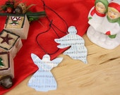 Set of Two Musical Angel Ornaments - Angels from the Realms of Glory Christmas Carol