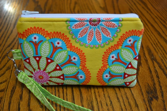 Gypsy Flowers Wristlet and Zippered Pouch