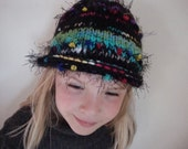 Winter Girl's Knitted Hat in Black and Brights--Texture-Whimsy-Fun-Turquoise-Hand made in the USA