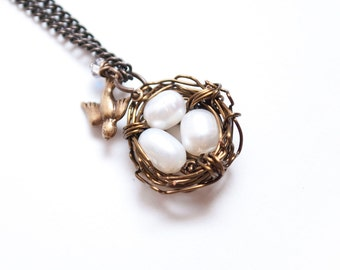 Bird Nest  Crystal and Pearl Necklace