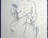 nude figure - Blanket warrior - A5 5x8 fine art print