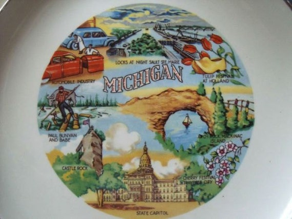 Vintage Michigan The Great Lakes State Collectors Souvenir Plate