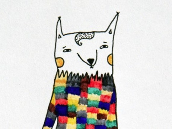 The colored fox postcard