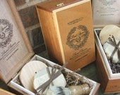 Groomsmen 4 piece set Wooden Men's Shave Set with Cigar Box