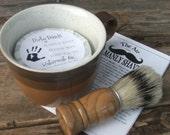Shaving Mug Set, Vintage Shaving Mug,  Cyber Monday Etsy Grooming Kit, Boar Brush, Handmade Soap