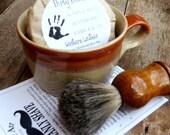 Men's Shaving Gift Set, Shaving Mug Set, Vintage Shaving Mug,  Etsy Grooming Kit, badger  Brush, Handmade Soap
