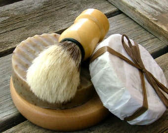 Wooden Mens Shaving Kit Handmade Soap Shaving Brush