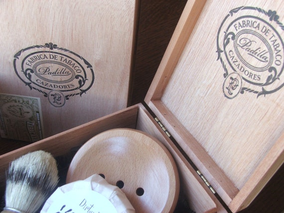 Wooden Men's Shave Set with Cigar Box
