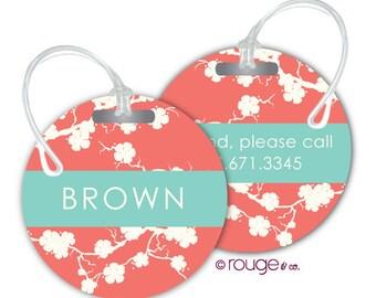 SAKURA round luggage tags with custom monogram - set of 2