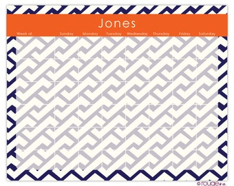"ZIG ZAG weekly planner with monogram - 14"" x 11"" with magnet, wall mount and dry erase marker included"