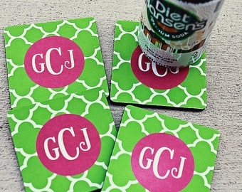 CLOVER coasters with custom monogram - set of 4