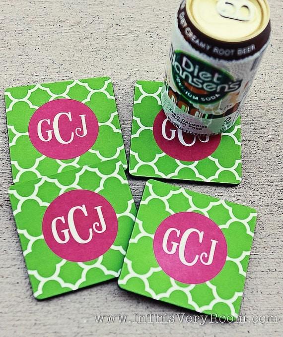 CLOVER coasters with custom monogram - set of 4