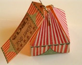CUSTOM LISTING for Valerie 5 Circus tent gift boxes with tags 5 x 5 x 7cm (other quantities available)