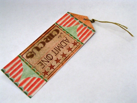 Pack of 10 large circus ticket gift tags