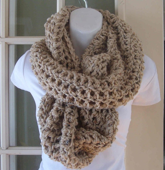 Oatmeal infinity cowl scarf neckwarmer