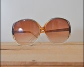SALE / Vintage Sunglasses /  1970s Over Sized Frames in Golden Brown and Grey