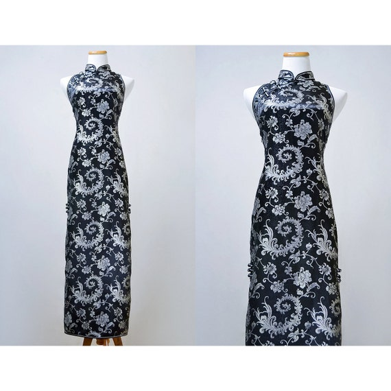 SALE / Vintage 1960s Asian Floral Gown / Black and Silver Sleeveless Brocade Sheath Dress