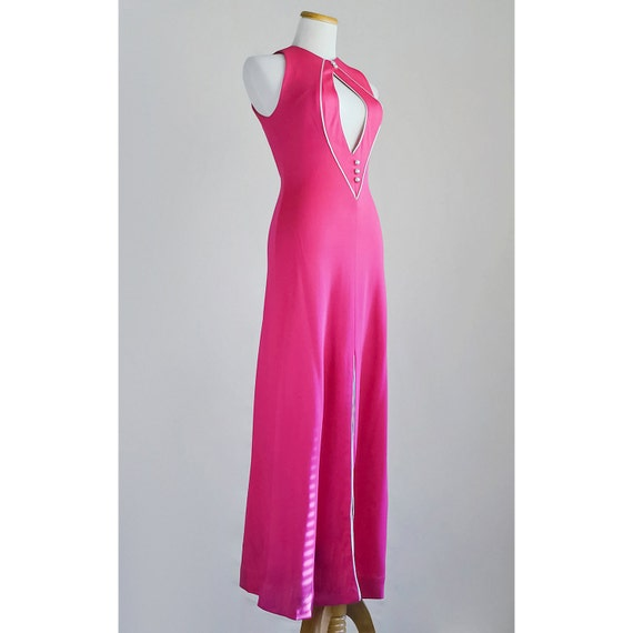 SALE / Vintage Hot Pink Evening Gown / 1970s Magenta Maxi Dress with Plunging Neckline and Metallic Silver Trim