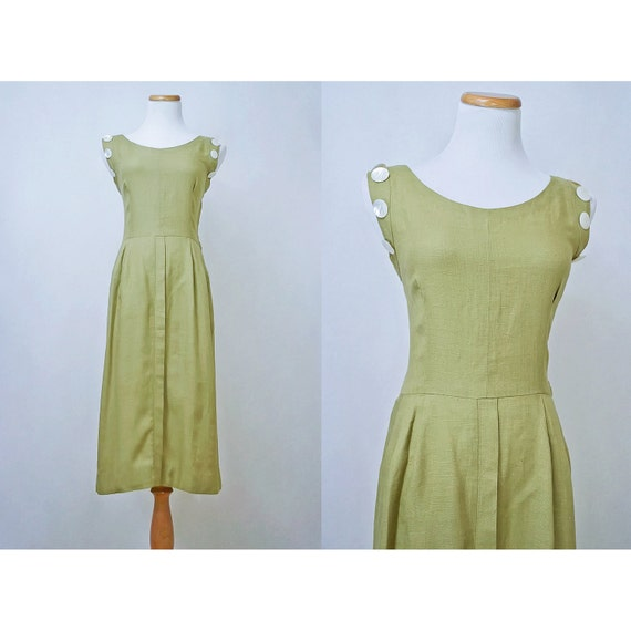 SALE / Vintage Green Linen Dress / 1950s Khaki Moygashel Jumper with Mother of Pearl Accent Buttons