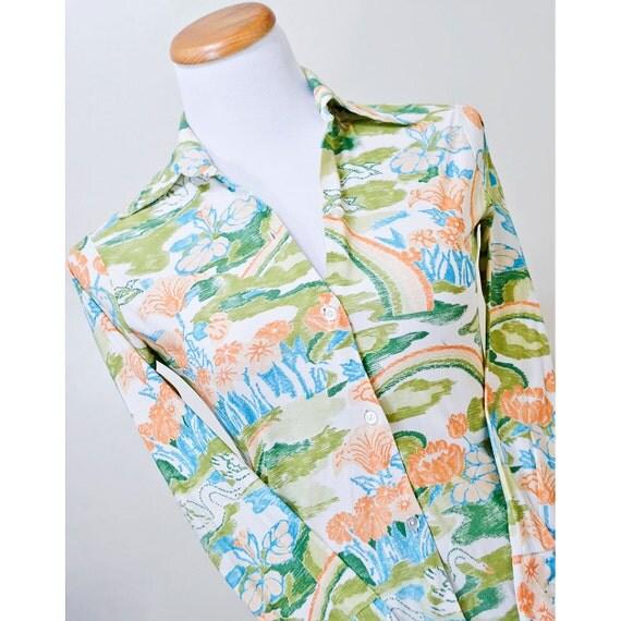 1960s Mod Blouse / Floral and Bird Print 60s Statement Shirt / Cream Aqua Blue and Orange / SALE