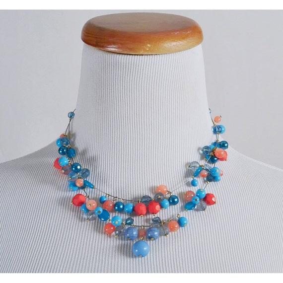 Pink and Blue Bauble Necklace / 2 Strand Lucite Handmade Artisan Choker / SALE