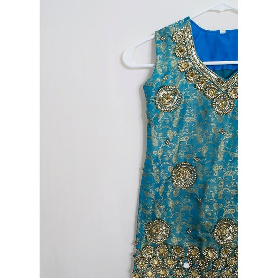 Vintage Teal Beaded Blouse / 1960s Sleeveless Floral Satin Brocade Tank Top /  Aqua Blue and Gold / SALE