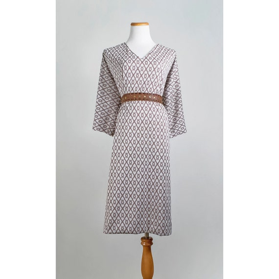 RESERVED / Vintage 1960s Dress / 60s Geometric Secretary Dress / White and Beige / SALE
