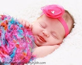 Pink Organza Flower on a Pink elastic headband -  Newborn Baby Infant Toddler Teen Adult