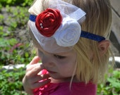 Red, White and Blue Rosette headband on a sparkly blue elastic headband - 4th of July