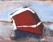 Still Life Red Velvet Cake Painting- Oil on Linen 5x7