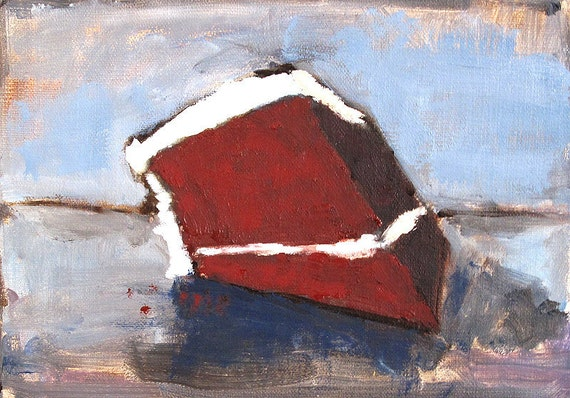 Still Life Red Velvet Cake Painting- Oil on Linen 5x7