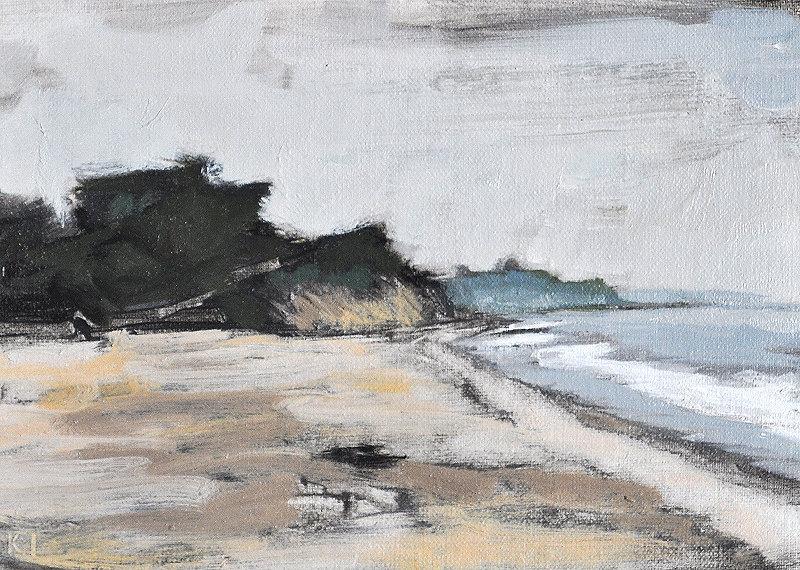 Santa Barbara California Beach Fog Original Landscape Painting by Kevin Inman Art