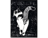 Cat Card, Tails Up, blank note card, greeting card, friendship, loss of a pet, good luck, black and white, cat lover