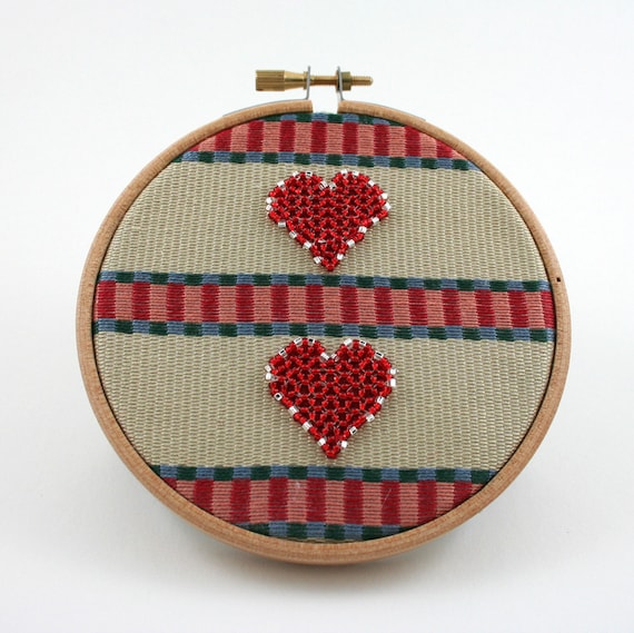 Embroidery Hoop Art, Two Hearts, Valentines Day, love, recycled fabric circle, Slate Blue, Raspberry Red, Salmon Pink, Khaki, stripes