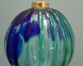 blown glass ornament green and blue