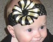Black and Gold UCF Central Florida Knights Double Layer Ribbon Flower Bow Clip with Interchangeable Headband