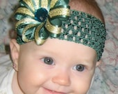 Green and Gold USF Bulls Double Layered Ribbon Flower Bow Clip and Interchangeable Headband