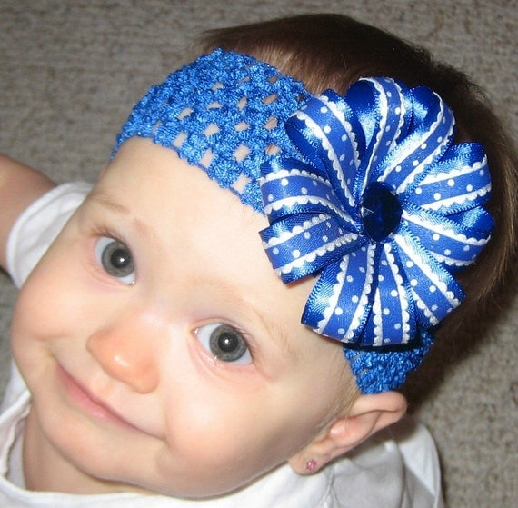 Royal Blue and White Polka Dot University of Kentucky Wildcats Double Layer Ribbon Flower Bow Clip with Interchangeable Headband
